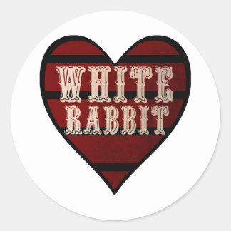 Vintage Heart White Rabbit Classic Round Sticker