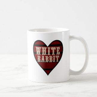 Vintage Heart White Rabbit Classic White Coffee Mug