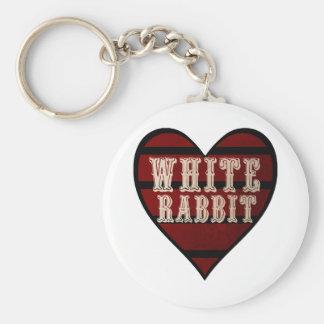 Vintage Heart White Rabbit Keychain