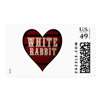 Vintage Heart White Rabbit Postage Stamp