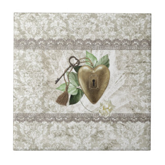 Vintage Heart with Key Accented with Leaves, Tulle Ceramic Tile