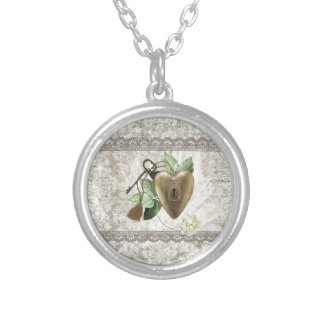 Vintage Heart with Key Accented with Leaves, Tulle Silver Plated Necklace