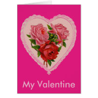 Vintage Heart with Roses Greeting Card