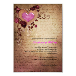 Vintage Heart with Roses Wedding Invitation