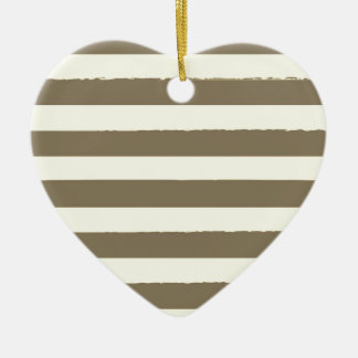Vintage heart with Stripes Ceramic Ornament