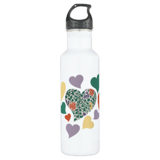 Vintage Hearts 24oz Water Bottle