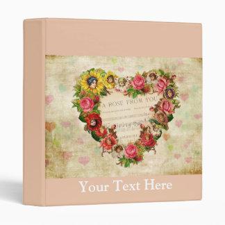 Vintage Hearts and Flowers Vinyl Binders