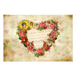 Vintage Hearts and Flowers Photo Print