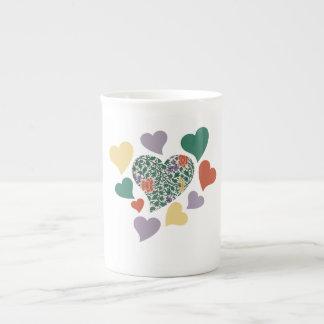 Vintage Hearts Bone China Mugs