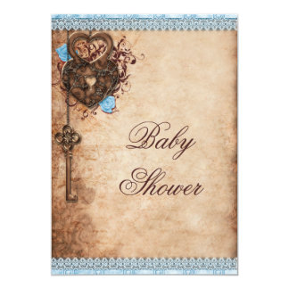 Vintage Hearts Lock and Key Boy Baby Shower Card