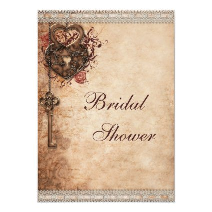Vintage Hearts Lock and Key Bridal Shower 5x7 Paper Invitation Card