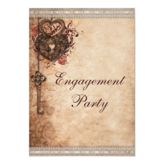 Vintage Hearts Lock and Key Engagement Party 5x7 Paper Invitation Card