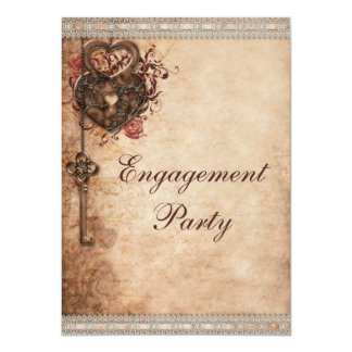 Vintage Hearts Lock and Key Engagement Party Card