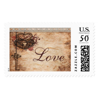 Vintage Hearts Lock and Key Love Wedding Postage