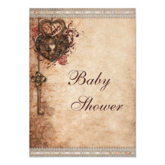 Vintage Hearts Lock and Key Neutral Baby Shower Card