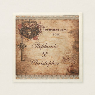 Vintage Hearts Lock and Key Personalized Wedding Paper Napkin