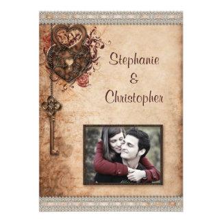Vintage Hearts Lock and Key Photo Wedding Invite