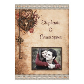 Vintage Hearts Lock and Key Photo Wedding 5x7 Paper Invitation Card