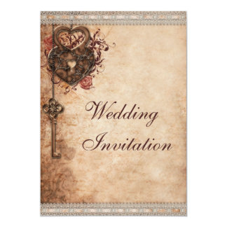 Vintage Hearts Lock and Key Wedding 5x7 Paper Invitation Card