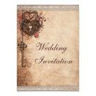 Vintage Hearts Lock and Key Wedding Card