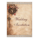 Vintage Hearts Lock and Key Wedding Card