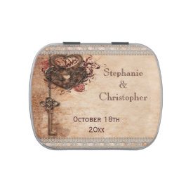 Vintage Hearts Lock and Key Wedding Favor Candy Tin at Zazzle