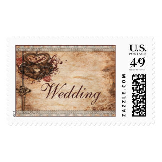 Vintage Hearts Lock and Key Wedding Postage