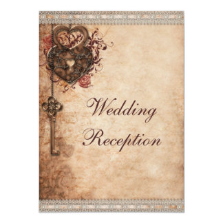 Vintage Hearts Lock and Key Wedding Reception Card
