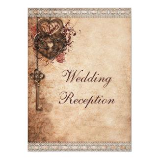 Vintage Hearts Lock and Key Wedding Reception 4.5x6.25 Paper Invitation Card