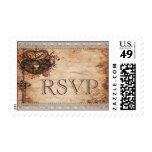 Vintage Hearts Lock and Key Wedding Rsvp Postage Stamp