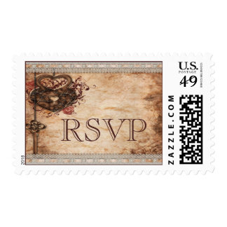 Vintage Hearts Lock and Key Wedding Rsvp Postage Stamp