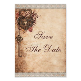 Vintage Hearts Lock and Key Wedding Save The Date 3.5x5 Paper Invitation Card