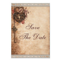 Vintage Hearts Lock and Key Wedding Save The Date Card