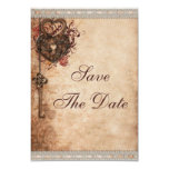 "Vintage Hearts Lock and Key Wedding Save The Date 3.5"" X 5"" Invitation Card"