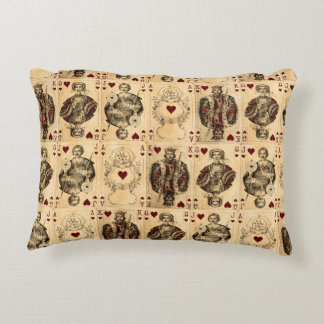 Vintage Hearts Playing Cards Queen King Jack Ace Accent Pillow