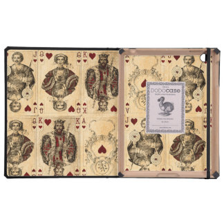 Vintage Hearts Playing Cards Queen King Jack Ace Covers For iPad