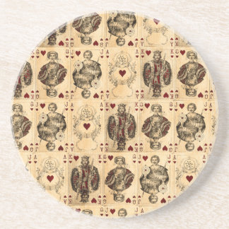 Vintage Hearts Playing Cards Queen King Jack Ace Coaster