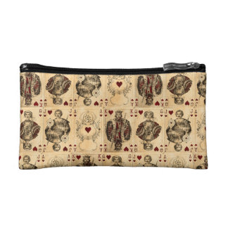 Vintage Hearts Playing Cards Queen King Jack Ace Cosmetic Bag