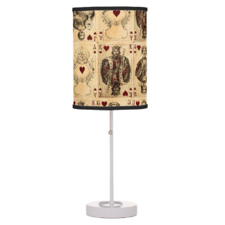 Vintage Hearts Playing Cards Queen King Jack Ace Desk Lamp