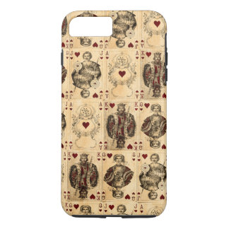 Vintage Hearts Playing Cards Queen King Jack Ace iPhone 8 Plus/7 Plus Case