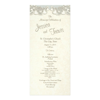 Vintage Hearts Romance Sage Wedding Program
