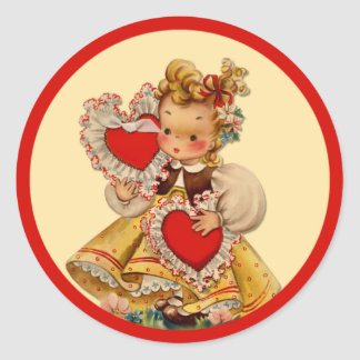 Vintage Hearts Sweetheart Classic Round Sticker