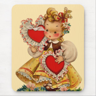 Vintage Hearts Sweetheart Mouse Pad