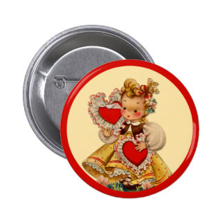 Vintage Hearts Sweetheart Pinback Button
