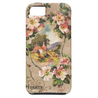 Vintage Hearty Birthday Greetings Floral Landscape iPhone 5 Cases