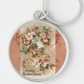 Vintage Hearty Birthday Greetings Floral Landscape Keychain