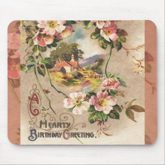 Vintage Hearty Birthday Greetings Floral Landscape Mouse Pad