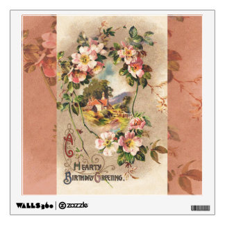 Vintage Hearty Birthday Greetings Floral Landscape Wall Sticker