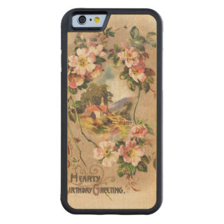Vintage Hearty Birthday Greetings Floral Landscape Carved® Maple iPhone 6 Bumper Case
