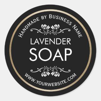 Vintage hecho a mano de la fabricación de jabón pegatina redonda